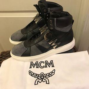 NEW MCM Men's Logo-Strap High-Top Suede Sneaker